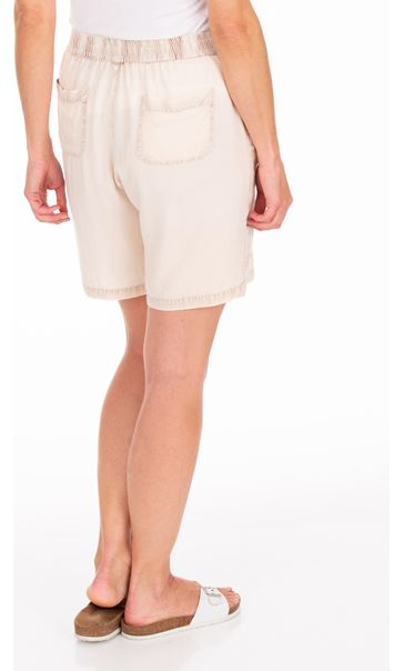 Embroidered Pull On Washed Shorts Cream/Brown - Gallery Image 2
