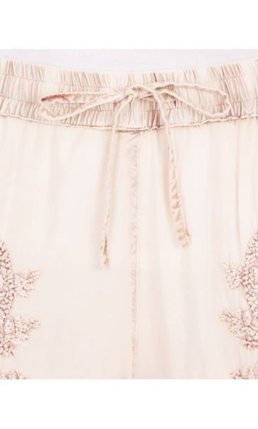 Embroidered Pull On Washed Shorts Cream/Brown - Gallery Image 3