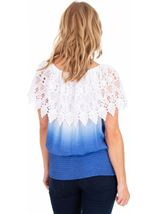 Lace Trimmed Ombre Top Blue/White - Gallery Image 2
