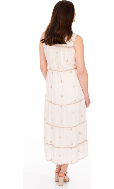 Sleeveless Embroidered Washed Midi Dress Cream/Brown - Gallery Image 2