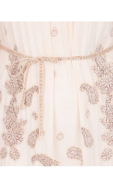 Sleeveless Embroidered Washed Midi Dress Cream/Brown - Gallery Image 3