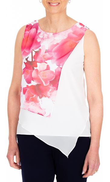 Anna Rose Asymmetric Layered Chiffon Top Hot Pink