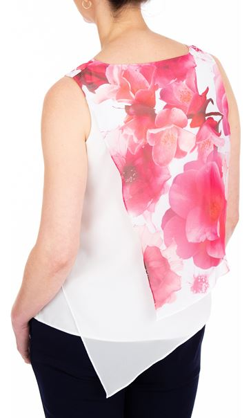 Anna Rose Asymmetric Layered Chiffon Top Hot Pink - Gallery Image 2