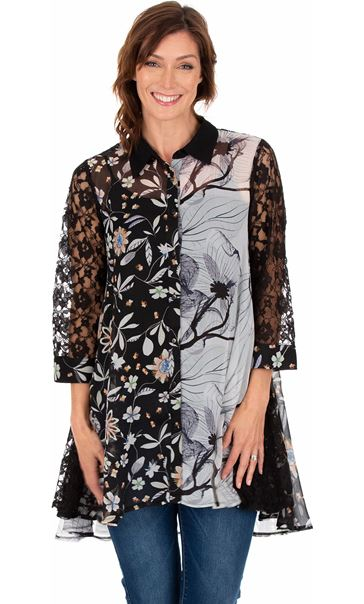 Printed Chiffon And Lace Oversized Shirt Black