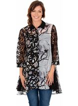 Printed Chiffon And Lace Oversized Shirt Black - Gallery Image 1