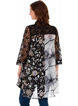 Printed Chiffon And Lace Oversized Shirt Black - Gallery Image 2