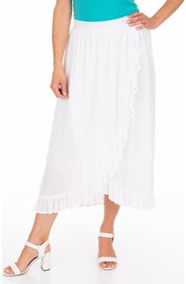 Ruffle Wrap Over Crinkle Maxi Skirt