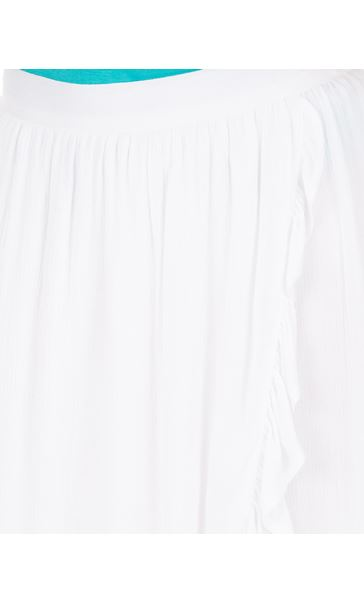 Ruffle Wrap Over Crinkle Maxi Skirt White - Gallery Image 3