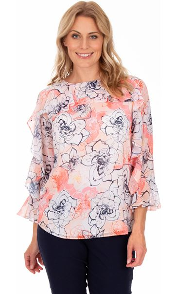 Floral Printed Chiffon Frill Top Coral/Multi