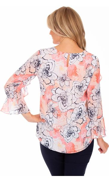 Floral Printed Chiffon Frill Top Coral/Multi - Gallery Image 2