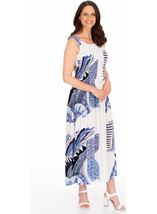 Sleeveless Smocked Printed Maxi Dress