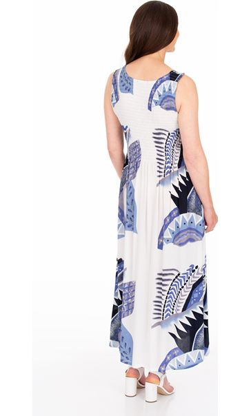 Sleeveless Smocked Printed Maxi Dress Blue/White - Gallery Image 2