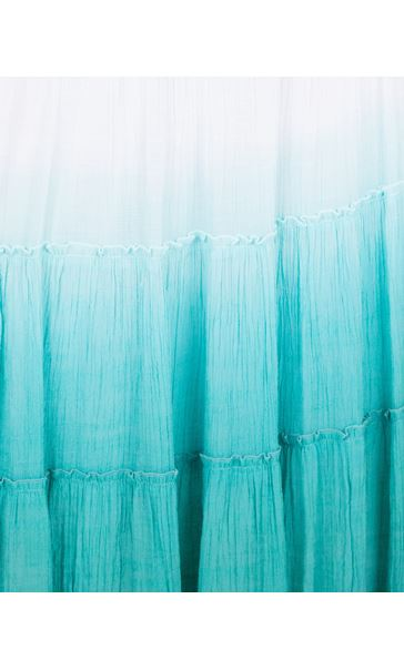 Ombre Layered Pull On Maxi Skirt Aqua/White - Gallery Image 3