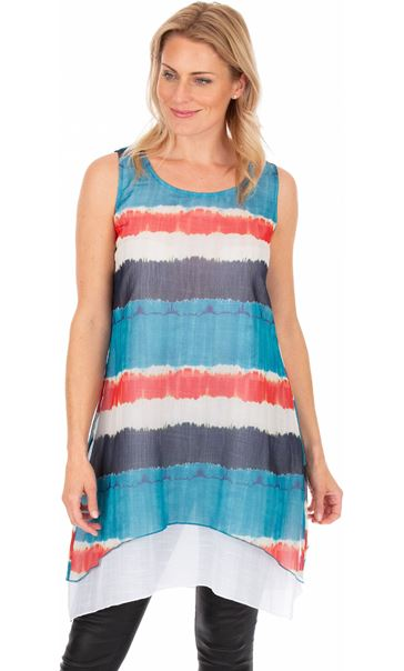 Printed Stripe Layered Sleeveless Tunic Blue/Orange