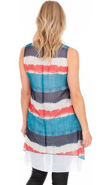 Printed Stripe Layered Sleeveless Tunic Blue/Orange - Gallery Image 2