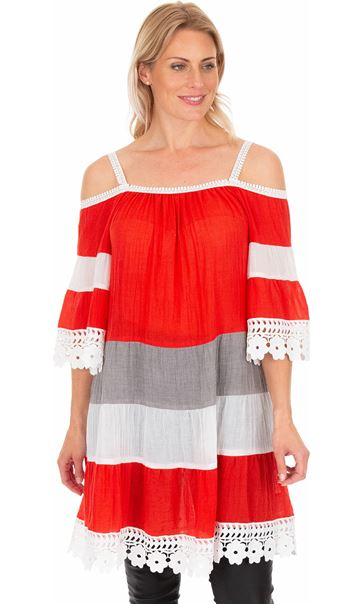 Lace Trimmed Cold Shoulder Tunic Rouge