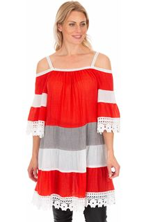 Lace Trim Cold Shoulder Tunic - Rouge