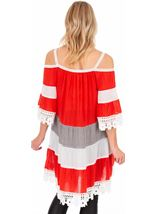 Lace Trimmed Cold Shoulder Tunic Rouge - Gallery Image 2