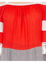 Lace Trimmed Cold Shoulder Tunic Rouge - Gallery Image 3