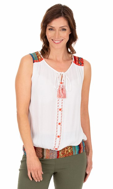 Button Trimmed Sleeveless Crinkle Top White
