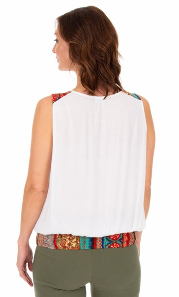 Button Trimmed Sleeveless Crinkle Top White - Gallery Image 2