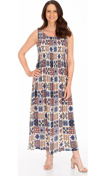 Sleeveless Smocked Tile Print Maxi Dress Cream/Brown/Blue - Gallery Image 1