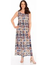 Sleeveless Smocked Tile Print Maxi Dress