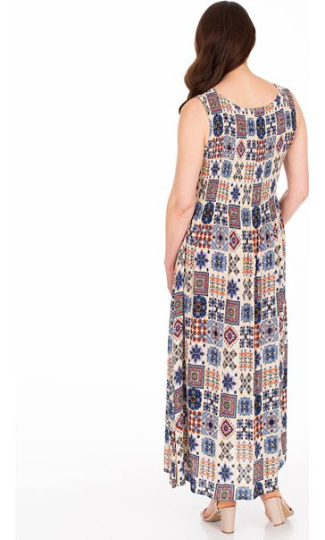 Sleeveless Smocked Tile Print Maxi Dress Cream/Brown/Blue - Gallery Image 2