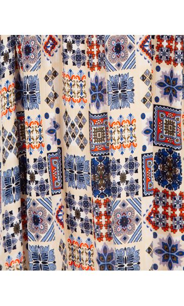 Sleeveless Smocked Tile Print Maxi Dress Cream/Brown/Blue - Gallery Image 3