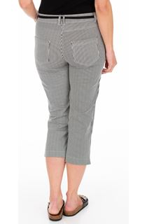 Striped Cropped Trousers - Black/White