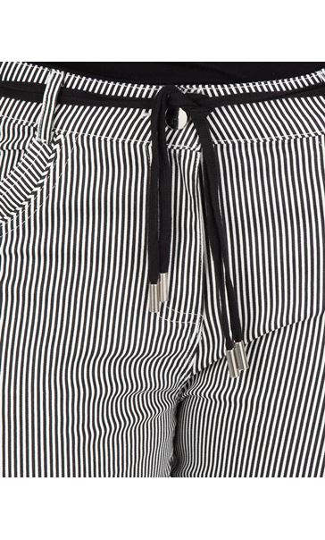 Stripe Cropped Trousers Black/White - Gallery Image 3