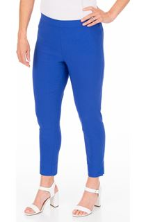 Fitted Pull On Cropped Stretch Trousers - Cobalt