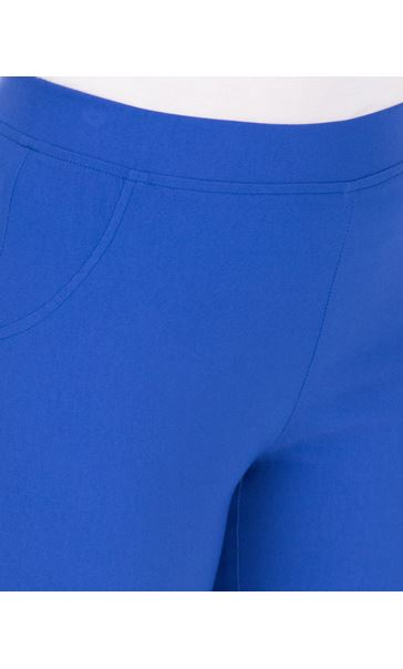 Fitted Pull On Cropped Stretch Trousers Cobalt - Gallery Image 3
