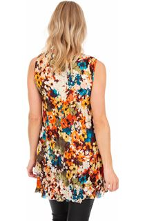 Pleated Layered Sleeveless Printed Tunic