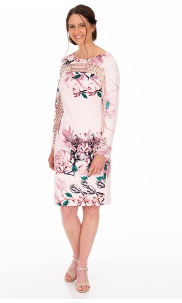 Long Sleeve Floral Print Scuba Dress Soft Pink