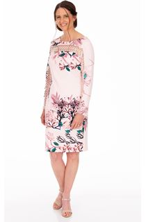 Long Sleeve Floral Print Scuba Dress