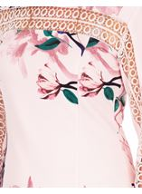 Long Sleeve Floral Print Scuba Dress Soft Pink - Gallery Image 3