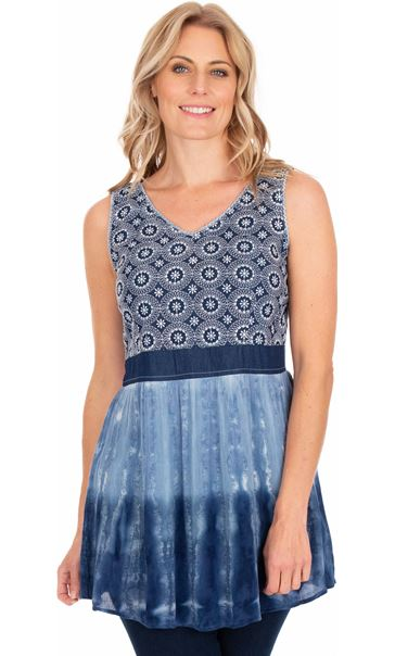 Embroidered And Tie Dyed Sleeveless Tunic Blue/White
