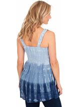 Embroidered And Tie Dyed Sleeveless Tunic Blue/White - Gallery Image 2