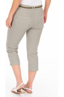 Striped Cropped Trousers - White/Khaki