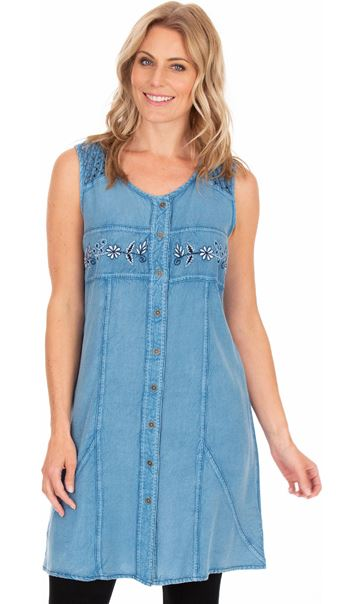 Embroidered Washed Sleeveless Tunic Light Blue - Gallery Image 1