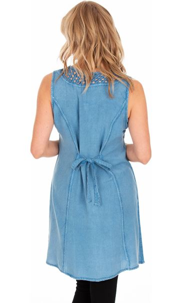 Embroidered Washed Sleeveless Tunic Light Blue - Gallery Image 2
