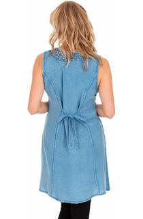 Embroidered Washed Sleeveless Tunic