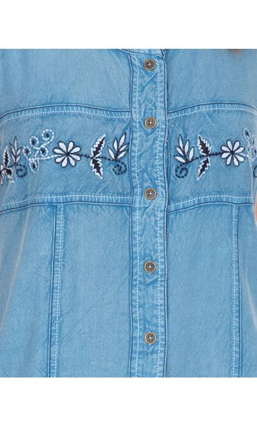 Embroidered Washed Sleeveless Tunic Light Blue - Gallery Image 3