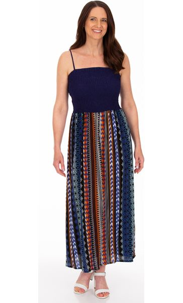 Printed Strappy Maxi Dress Brown/Blue