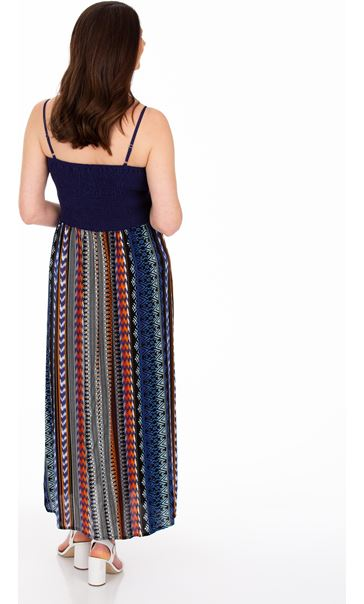 Printed Strappy Maxi Dress Brown/Blue - Gallery Image 2