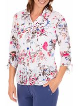 Anna Rose Floral Print Blouse With Necklace White/Pink - Gallery Image 1