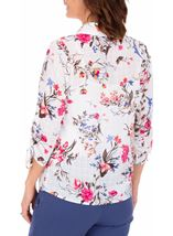 Anna Rose Floral Print Blouse With Necklace White/Pink - Gallery Image 2