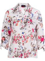 Anna Rose Floral Print Blouse With Necklace White/Pink - Gallery Image 4