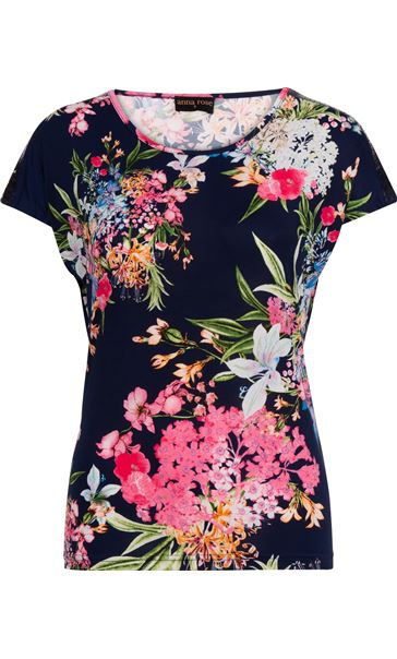 Anna Rose Sequin Trim Floral Top Navy/Pink
